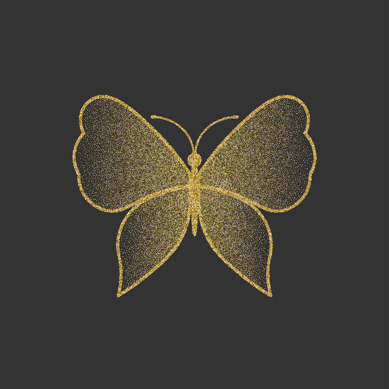 Decorative gold butterfly. An elegant silhouette. Item for logo. royalty free illustration