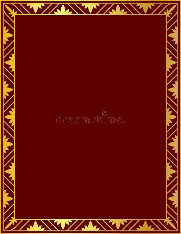 Decorative gold frame on a red background vector illustration