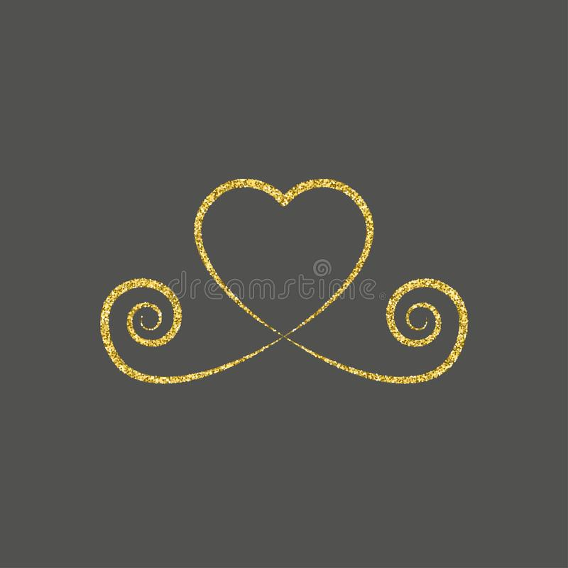 decorative gold heart icon. glitter logo, love symbol with a shadow on a black background. use in decoration, design, emblem. vector illustration