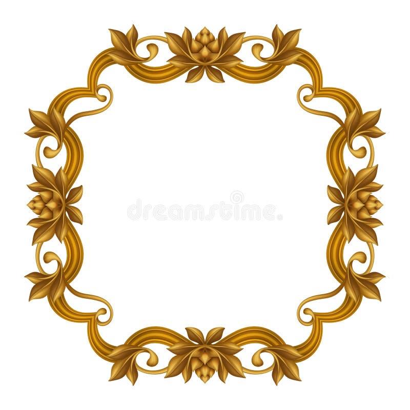 Download Decorative Gold Vintage Frame Isolated On White Background Festive Label Clip Art Stock Illustration