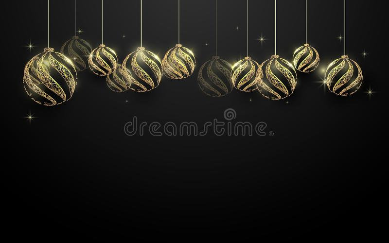 Decorative golden Christmas balls hanging on black background. Space for your text royalty free illustration