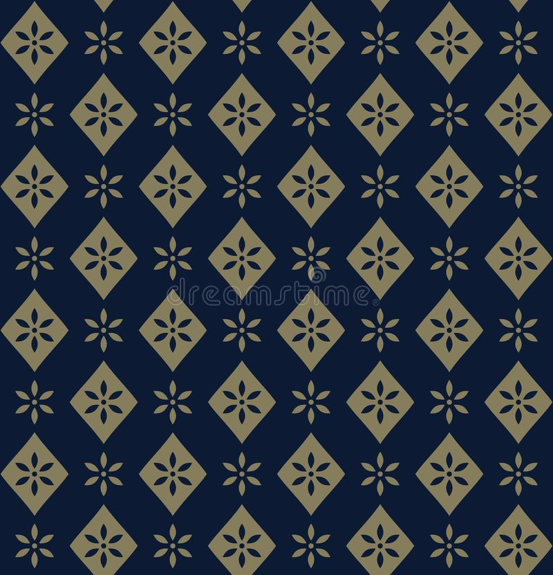 Decorative golden floral pattern on blue background vector illustration