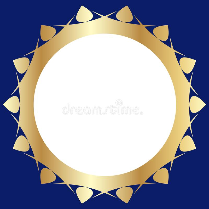 Decorative golden frame with abstract floral design on a dark blue background. Round pattern composition vector illustration