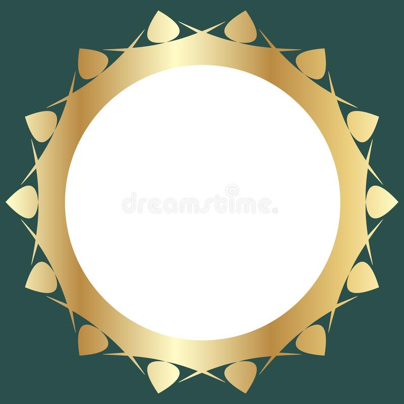 Decorative golden frame with abstract floral design on green background. Round pattern composition stock illustration