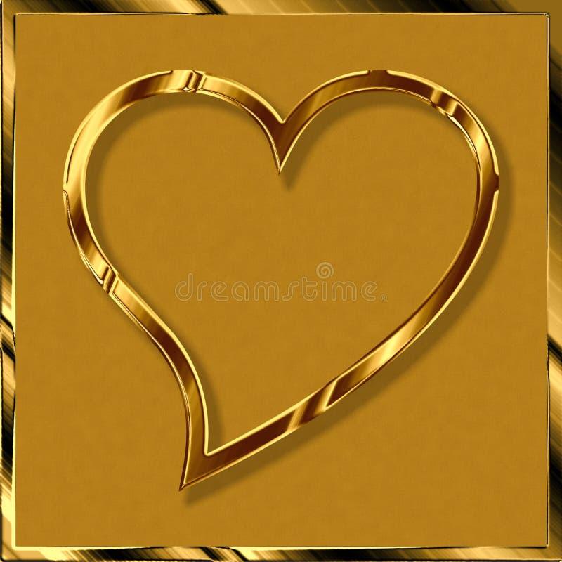 Golden love heart stock photography