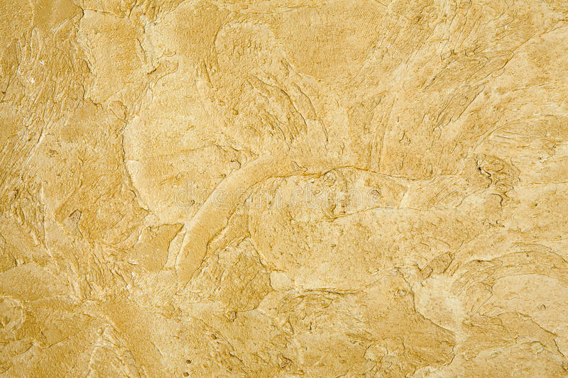 Decorative Golden Plaster Texture On The Wall - Background Stock ...