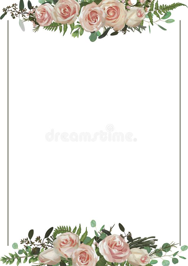 Decorative golden rectangular frame with eucalyptus, fern and boxwood branches, brunia, pink rose. For wedding invitations,. Vignettes, postcards, posters stock illustration