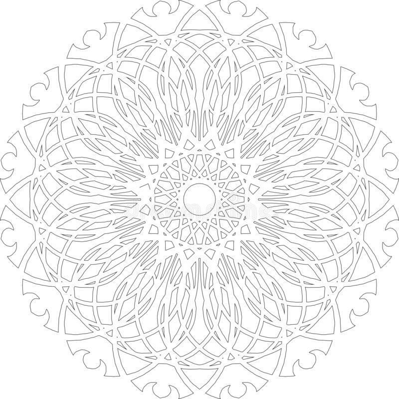 Decorative graphic contour pattern of mandala for drawing 皇族释放例证