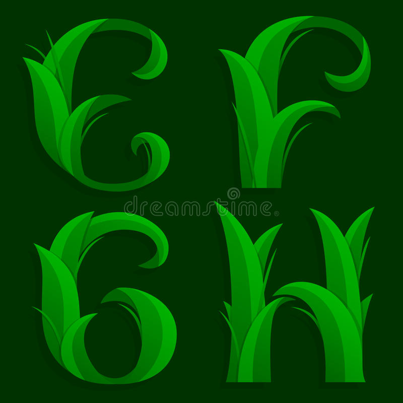 Free Decorative Grass Initial Letters E, F, G, H. Royalty Free Stock Image - 56641556