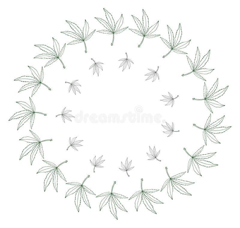 Decorative green leave of big hemp in round frame. Decorative illustration green leave of hemp in round frame stock illustration