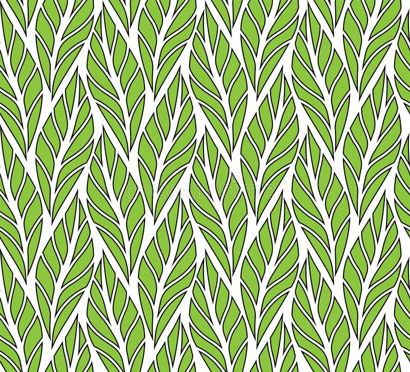 Decorative Green Leaves Seamless Pattern. Continuous leaf background. Floral Texture. Classic Leaves Art Deco Seamless Pattern. Geometric Leaf Stylish Texture vector illustration