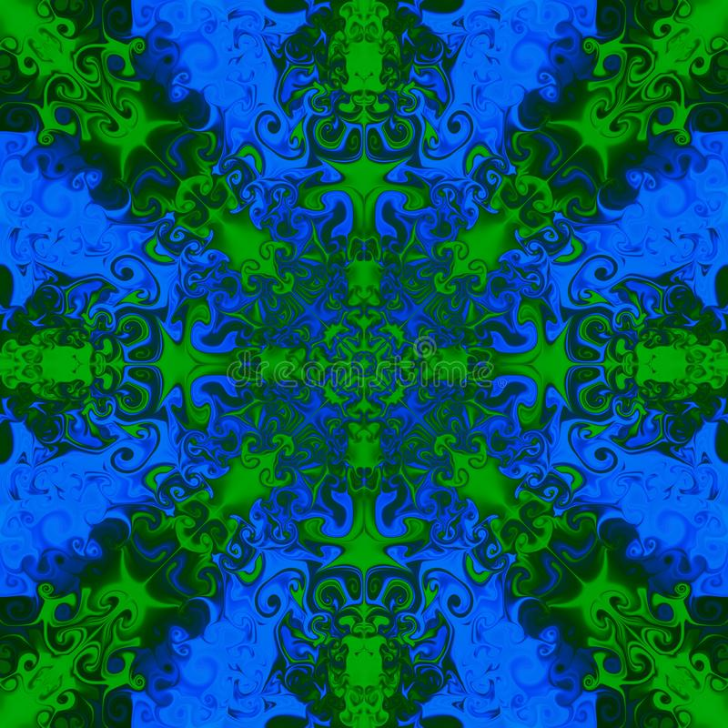 Decorative green pattern on bright blue background. royalty free illustration