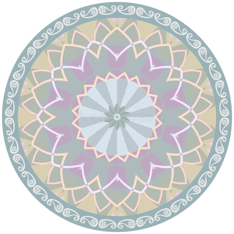 Decorative green plate with abstract flower mandala and paisley border.  stock illustration