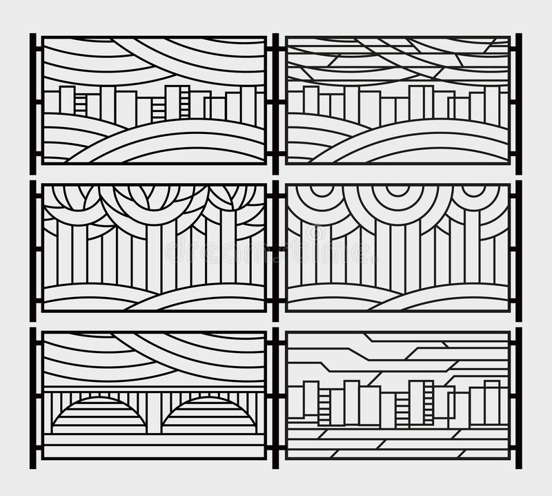 Decorative grill for a fence or a fireplace grate. Stylized city, river, bridge, sky, trees in the park royalty free illustration