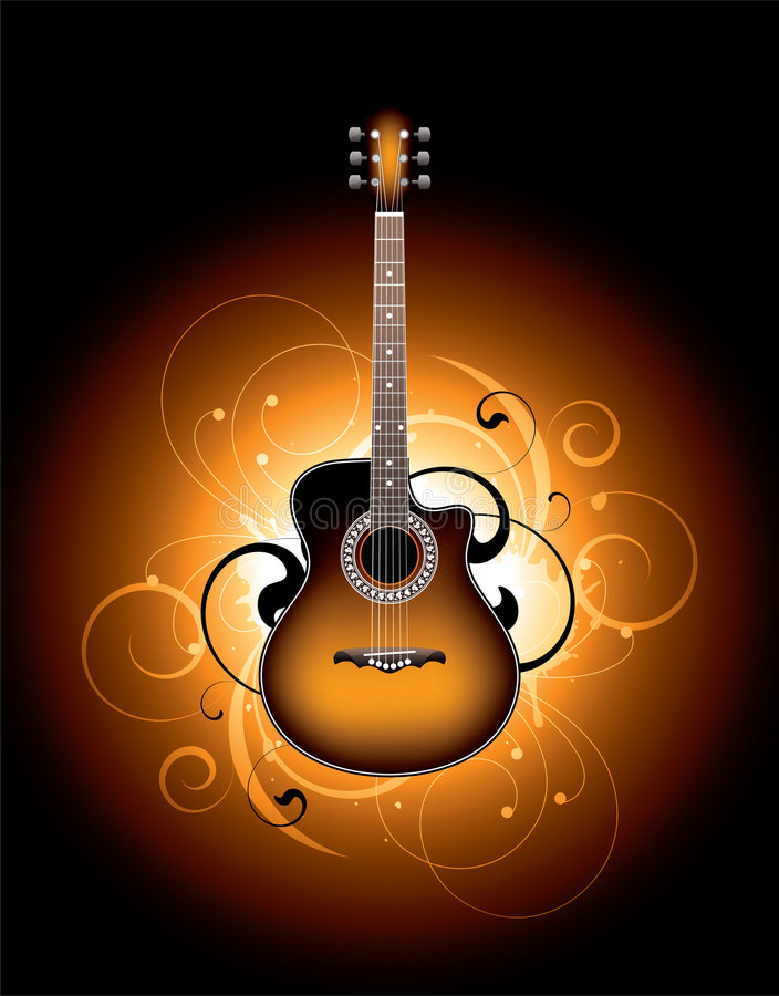 Free Decorative Guitar Illustration Stock Image - 9091381