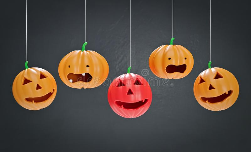 Decorative Halloween pumpkins 3d rendering royalty free illustration