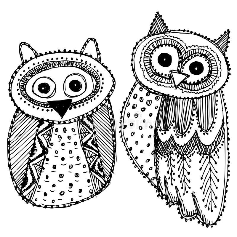 Decorative Hand dravn Cute Owl Sketch Doodle black bird on white background. Adult Coloring. Vector royalty free illustration