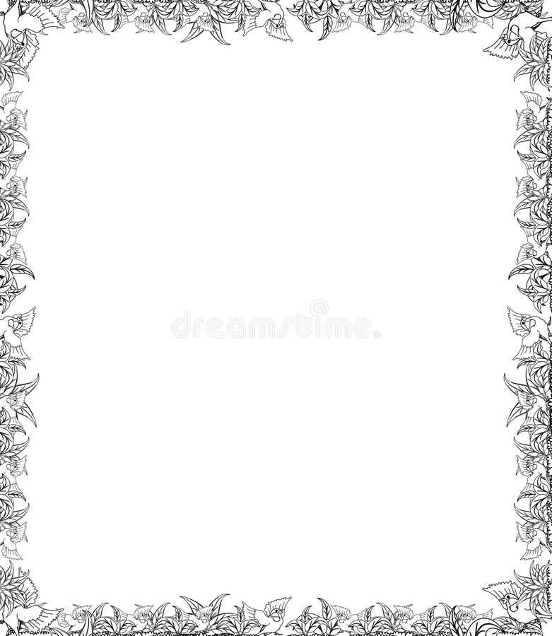 Decorative hand drawn border and frame royalty free illustration