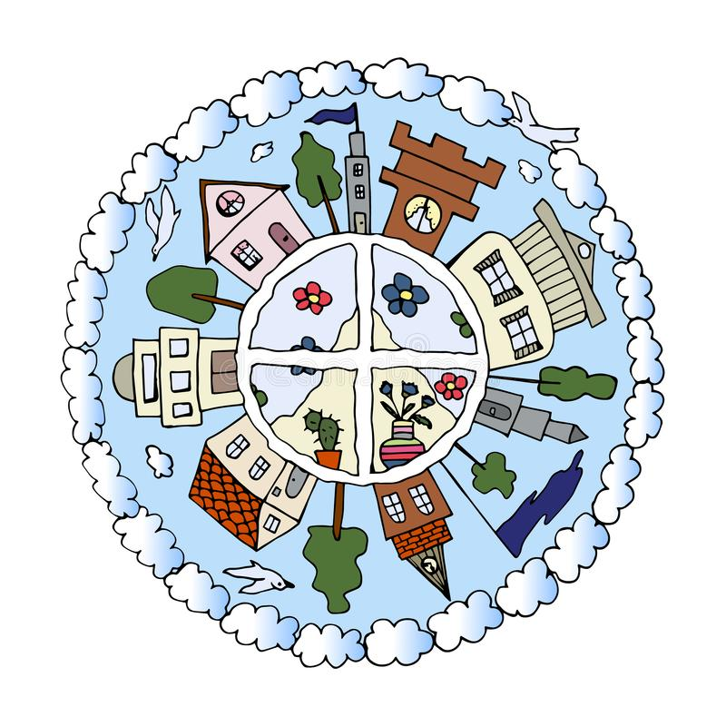 Decorative hand drawn colorful mandala with houses, city life details, clouds and birds, vector vector illustration