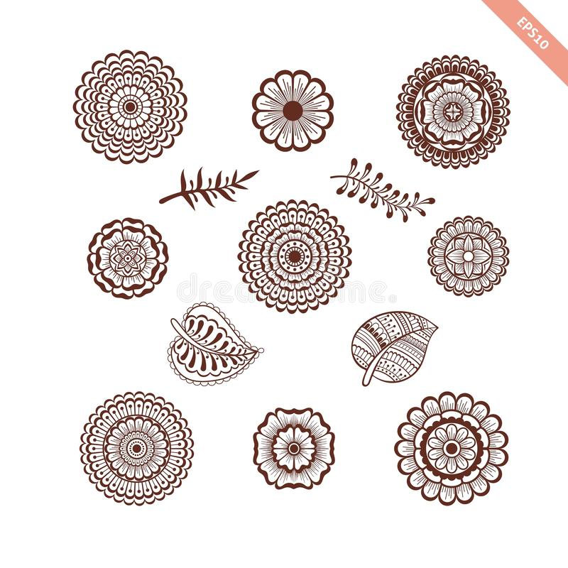 Decorative hand drawn element henna style collection. Floral set for your design, tattoo. stock image