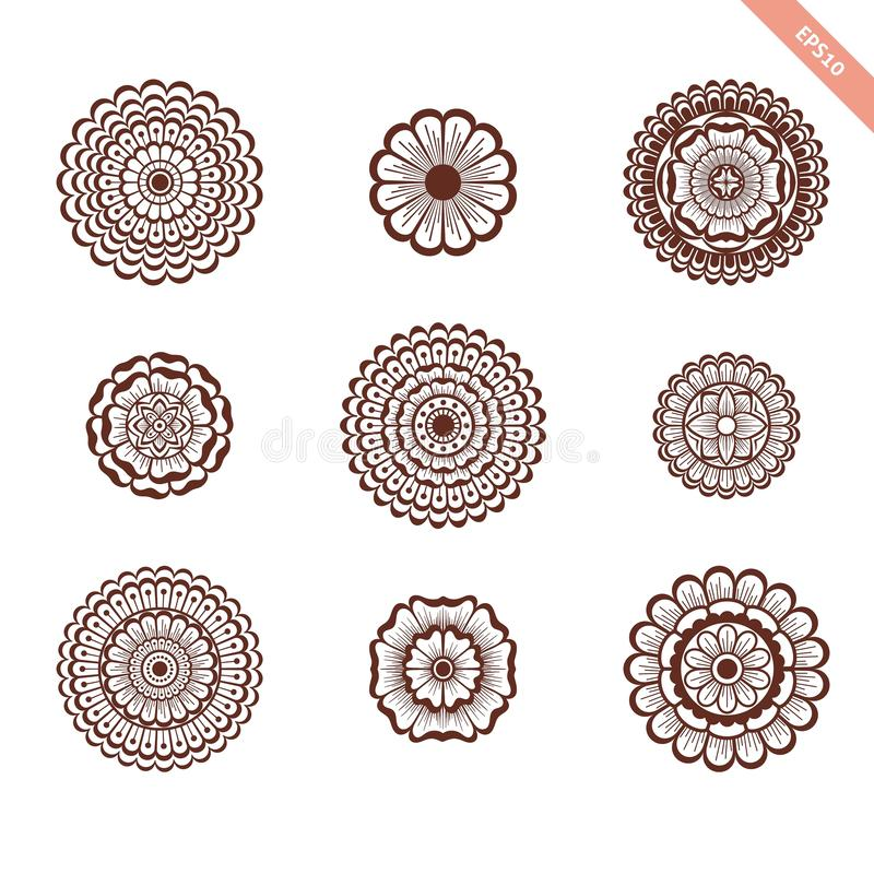 Decorative hand drawn element henna style collection. Floral set for your design, tattoo. stock photography