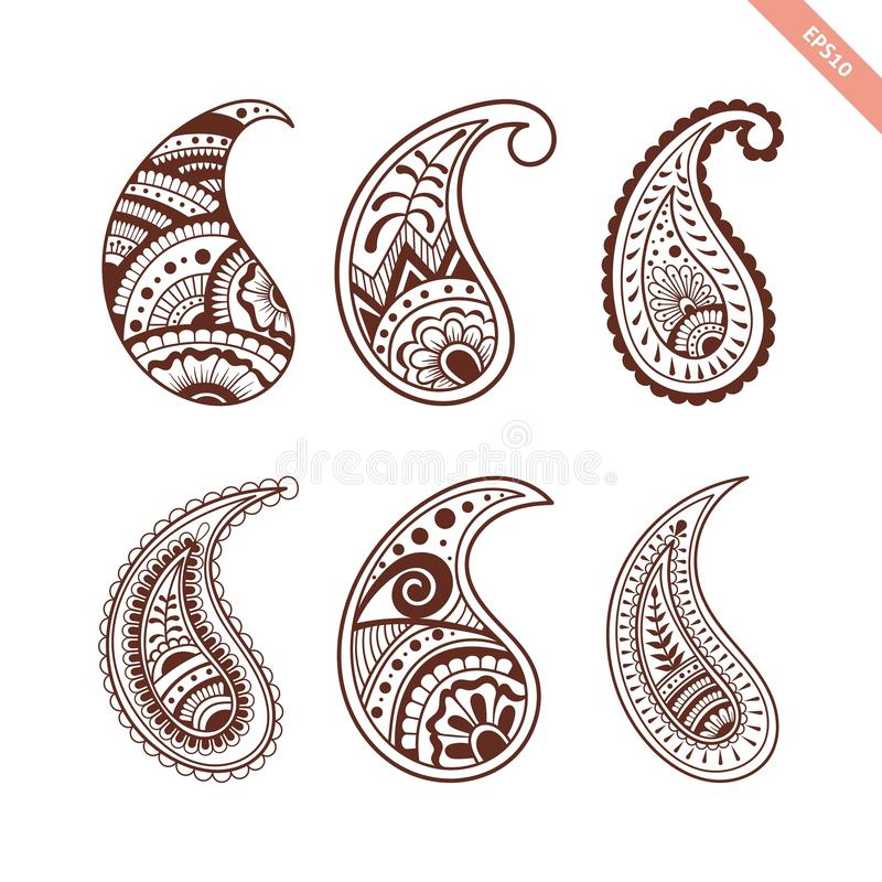 Decorative hand drawn element henna style collection.Paisley set for your design, tattoo. stock photos