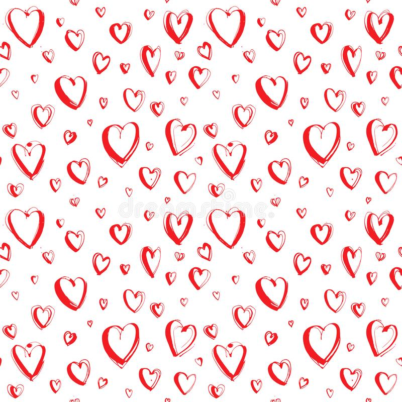 Decorative hand drawn Happy Valentine`s day seamless hearts pattern background. Vector grunge red and white illustration print for wpapping paper or textile stock images