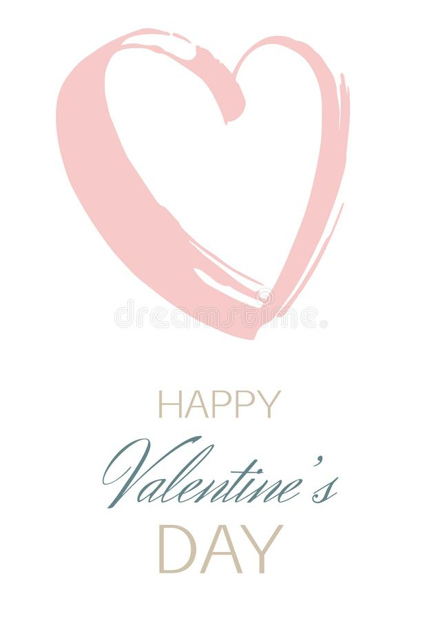 Decorative hand drawn heart greeting card Happy Valentine`s Day. Decorative hand drawn heart Happy Valentine`s day greeting card. Vector grunge pink and blue royalty free illustration