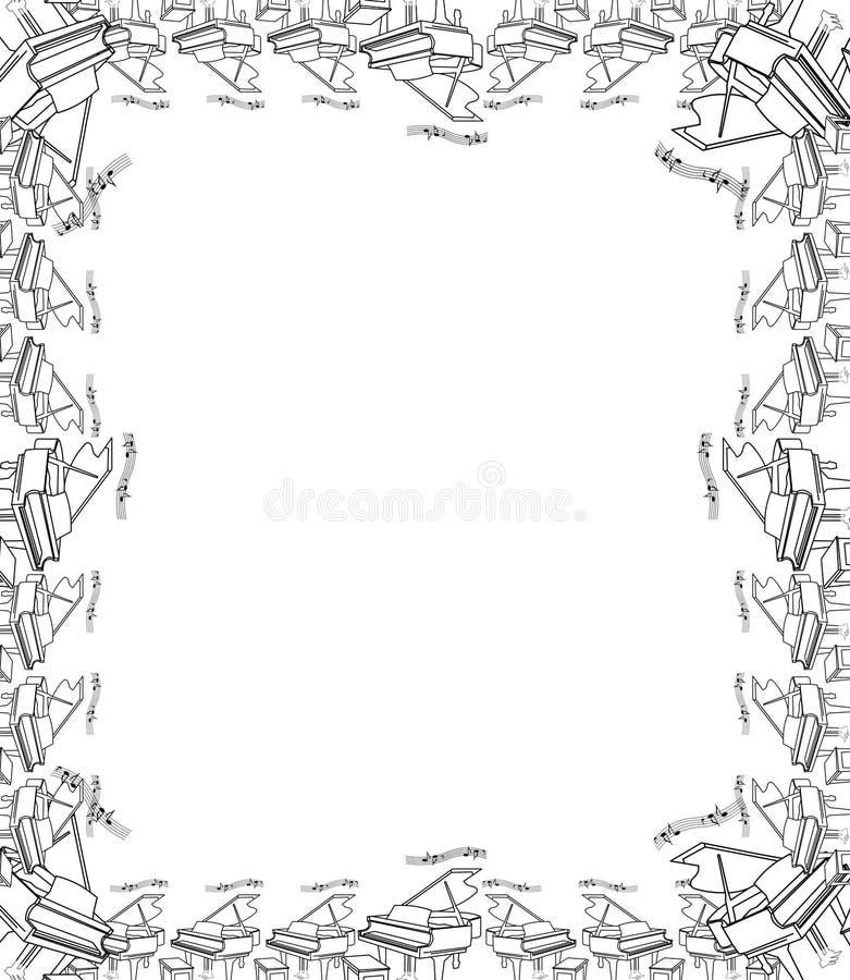 Decorative hand drawn piano border and frame royalty free illustration