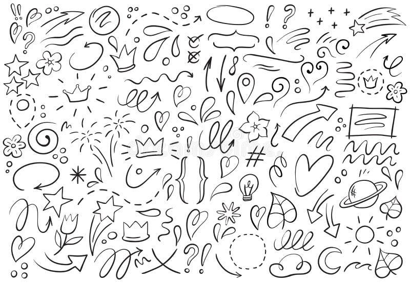 Decorative hand drawn shapes. Outline crown, doodle pointer and heart frame. Doodles lines elements vector illustration royalty free illustration