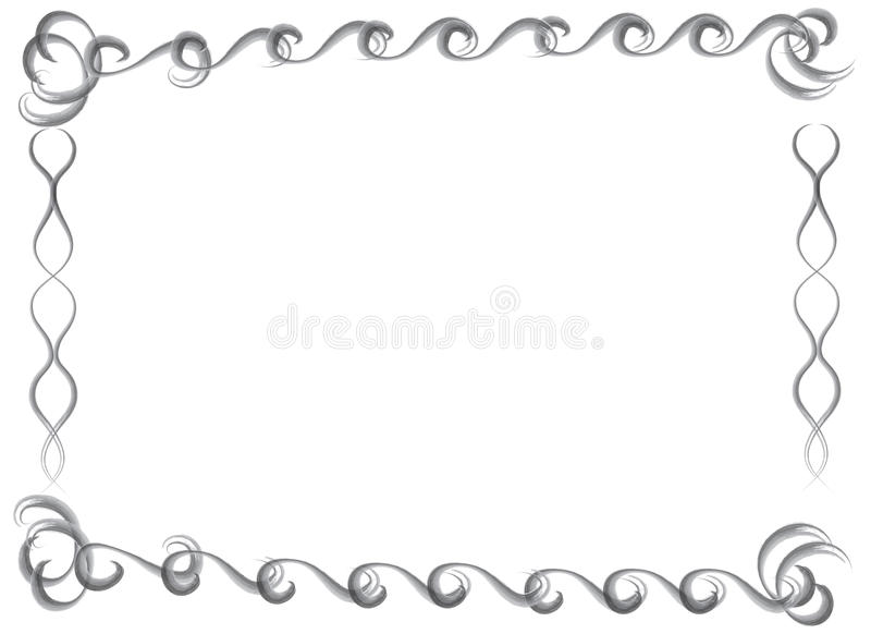 Decorative hand drawn water color border and frame stock illustration