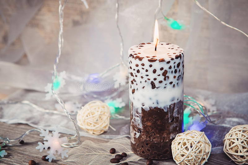 Decorative Handmade candle with coffee beans stock images