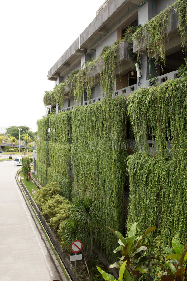 Decorative hanging garden on the more than one stories building stock images