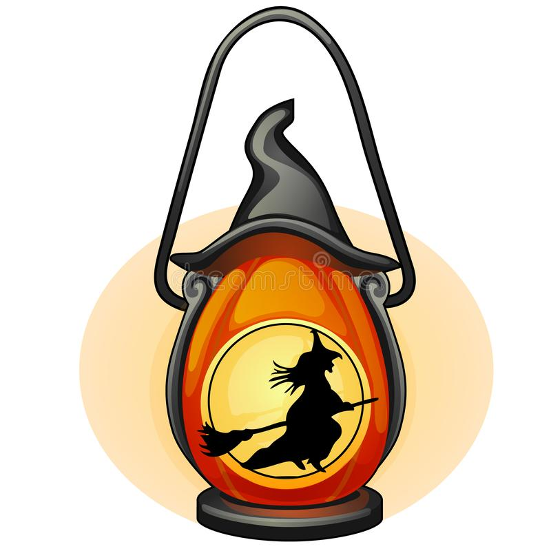 Decorative hanging lamp with the image of a silhouette of a witch flying on a broom. Element of interior design on theme. Of Halloween isolated on white vector illustration