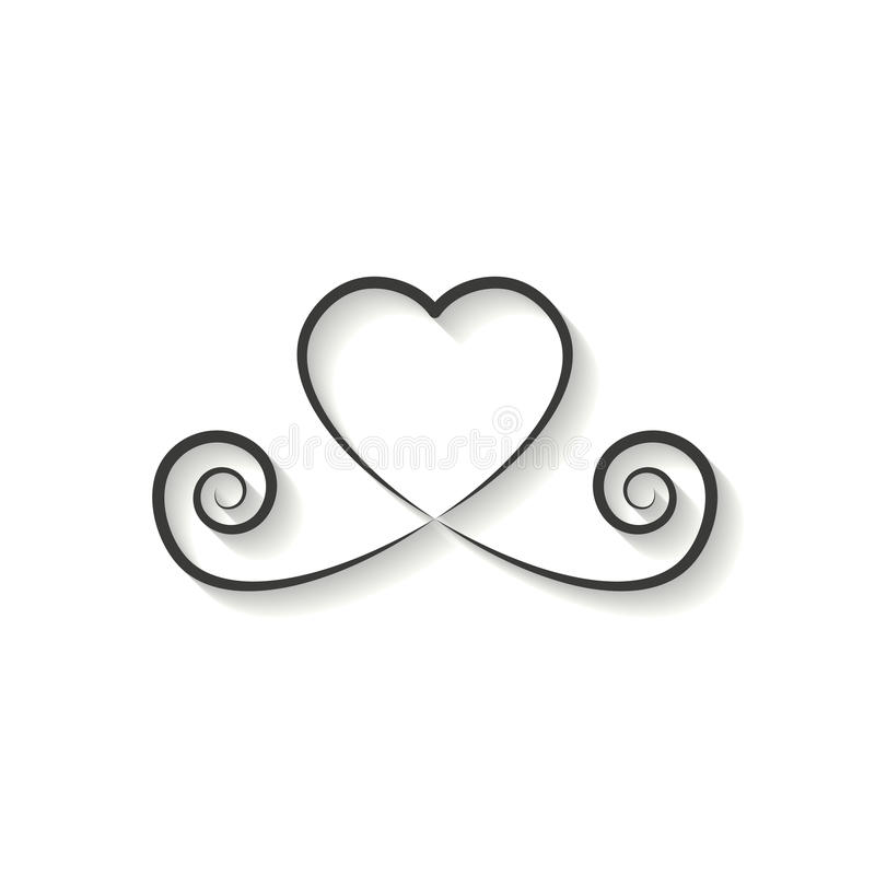 Decorative heart black linear icon. glitter logo, love symbol wi. Th a shadow on a white background. use in decoration, design, emblem. vector illustration vector illustration