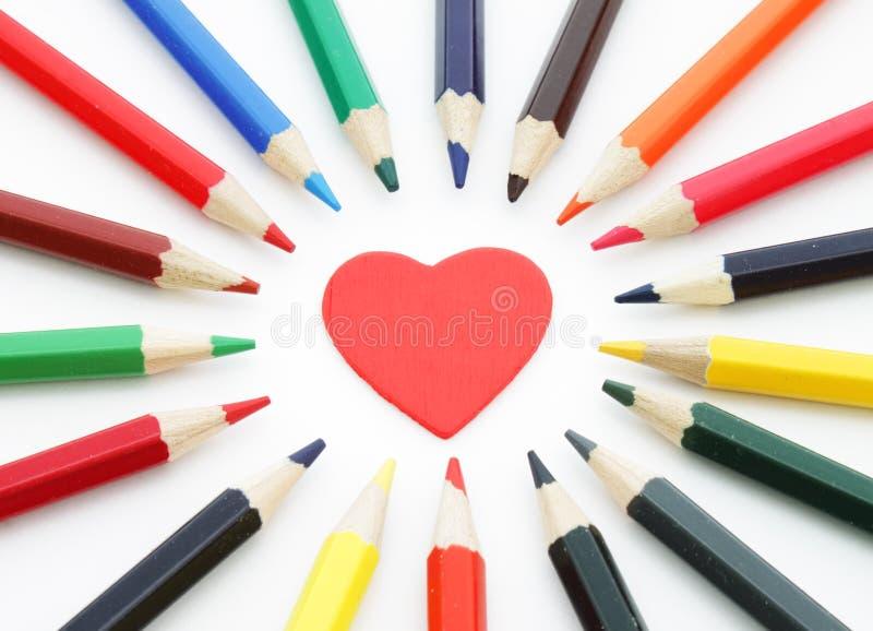 Decorative Heart And Pencils Royalty Free Stock Photos