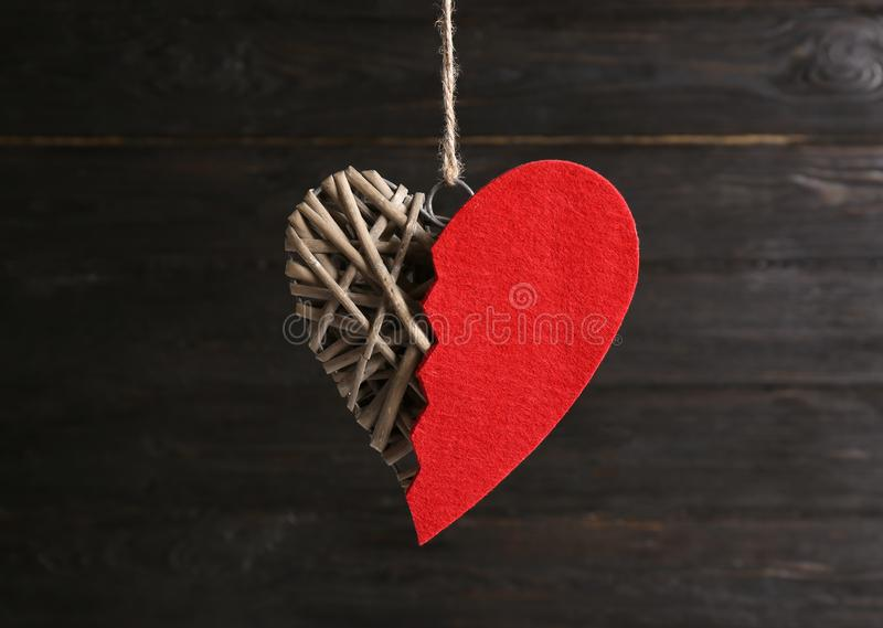 Decorative heart with red felt half royalty free stock photo