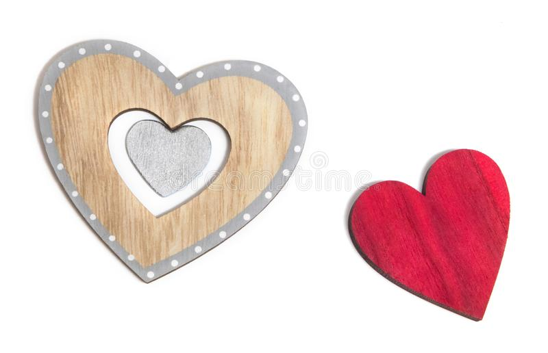 Decorative hearts are a symbol of love and unity of souls. Decorative heart sign and symbol of love of two lovers. Love Day Valentine`s Day. Congratulations for stock photography