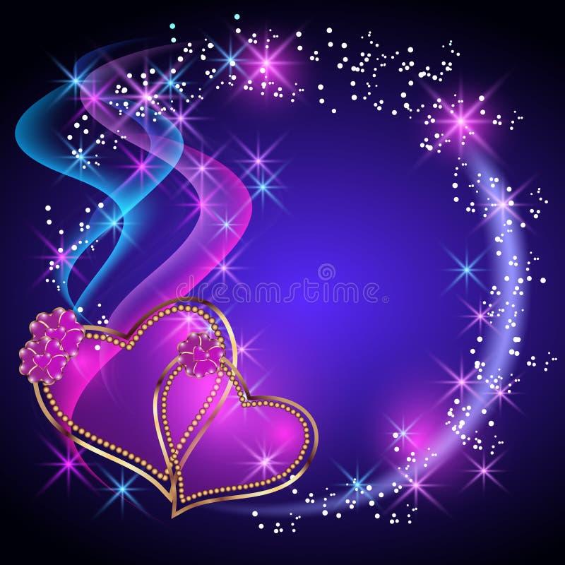 Decorative hearts. Decorative shiny hearts and stars vector illustration