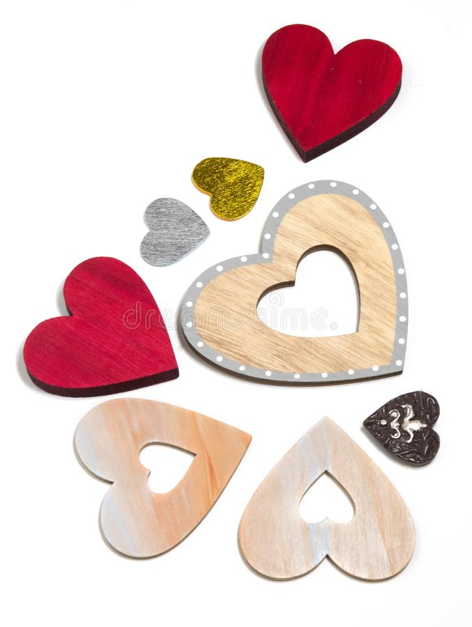 Decorative hearts are a symbol of love and unity of souls. Decorative heart sign and symbol of love of two lovers. Love Day Valentine`s Day. Congratulations for royalty free stock photo