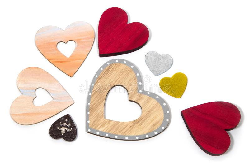 Decorative hearts are a symbol of love and unity of souls. Decorative heart sign and symbol of love of two lovers. Love Day Valentine`s Day. Congratulations for stock photo