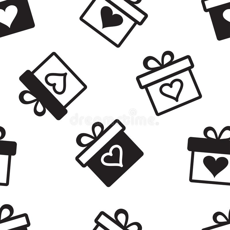 Decorative holiday seamless pattern with black gift boxes with hearts on black background. Vector stock photos