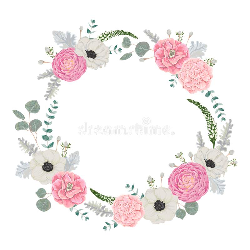 Decorative holiday wreath set with flowers, leaves and branches. Vintage floral elements. royalty free illustration