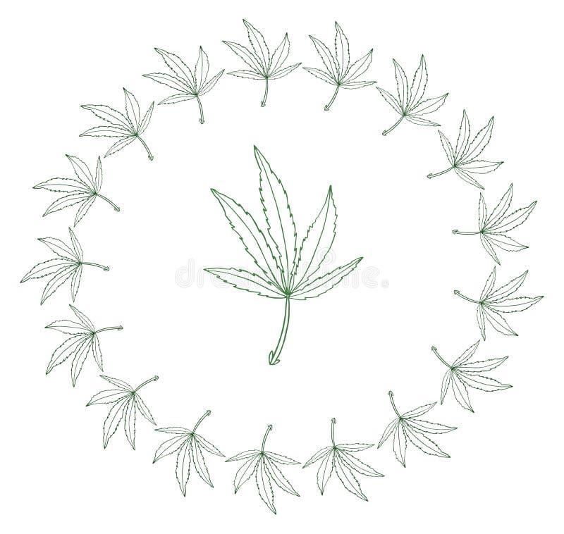 Decorative illustration green leave of big hemp in round frame. Decorative illustration green leave of hemp in round frame royalty free illustration