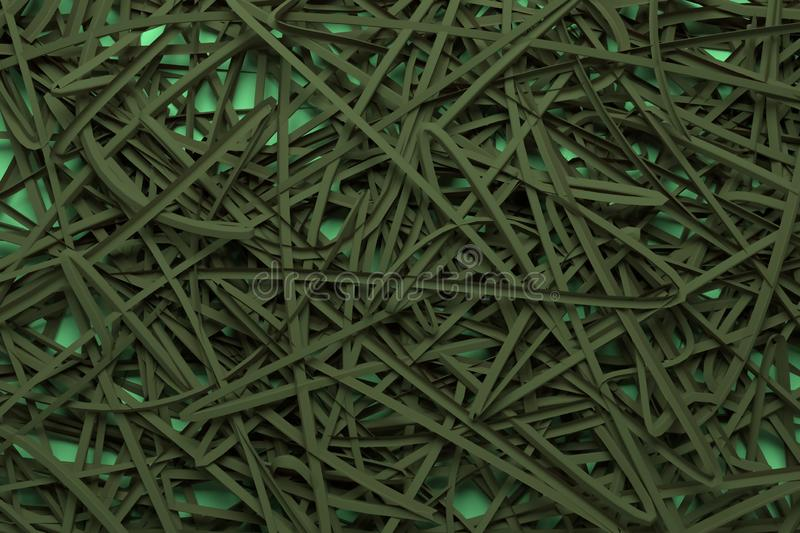 Decorative, illustrations CGI composition, messy strings virtual backdrop, for design texture background. 3D render. CGI composition, virtual backdrop, messy stock photo