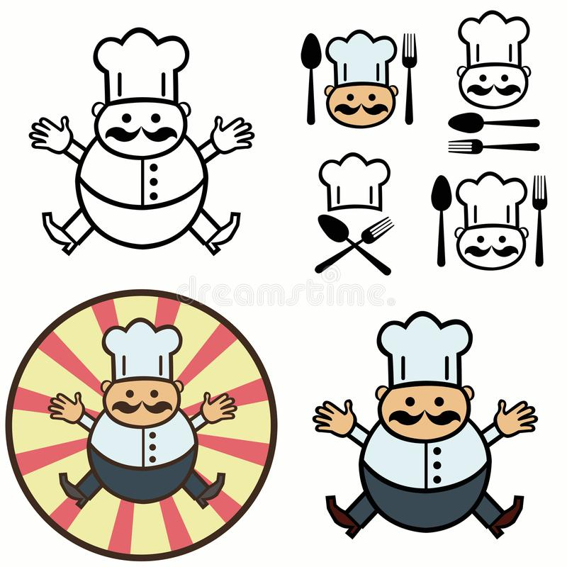 Set Of Chef Hat Red Scarf Spoon And Fork Stock Vector