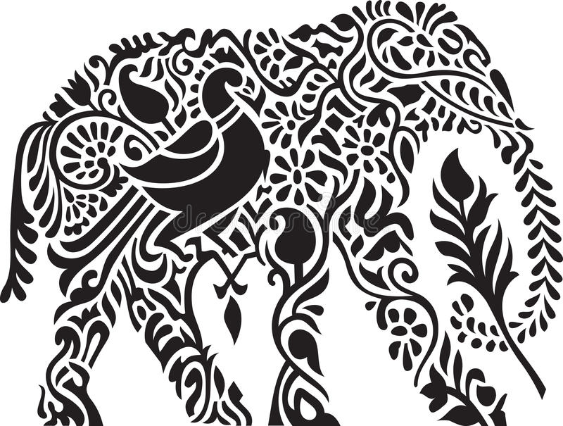Decorative indian elephant royalty free illustration