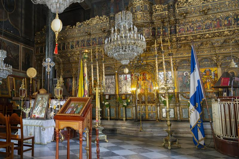 Decorative interior of beautiful Greek Orthodox church stock photography