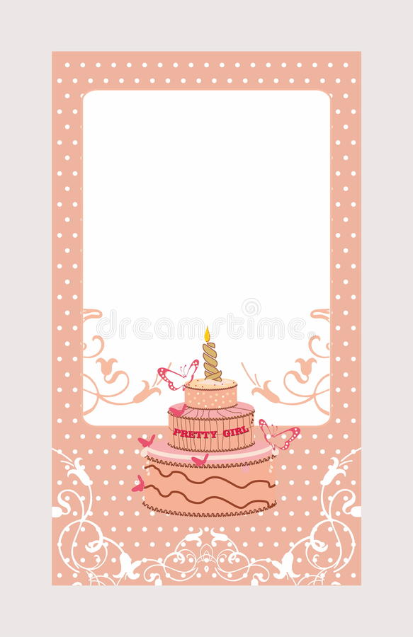 Decorative invitation card with cake vector illustration