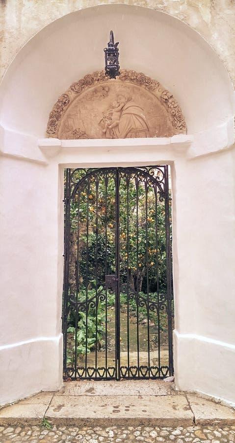 Decorative iron gate stock image
